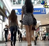 Pretty upskirts haunted in malls
