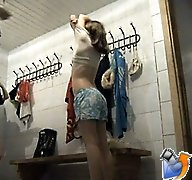 Cute teens changing clothes after having a shower