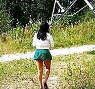 Hot babe goes out commando and pisses in the woods