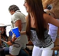 Horny girls invite the dancing bear over for some sucking and fucking