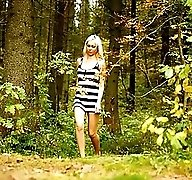 Outdoor peeing show from loose yet sexy blonde ho