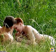 Short-haired redhead done by her nude lover