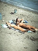 Sexy hotties and their guys having fun at the seaside