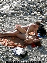 Big-boobed beach girl filled with cock on the shore