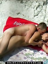 Nude tanned babe fondled and fucked at the seaside