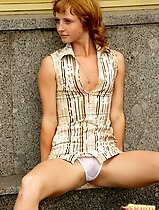 Amazing redhead flashing her white sheer panties in public